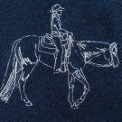 Western Pleasure Horse Outline Embroidered Dark Blue Bath Towels