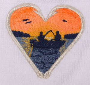 Fish Hook Heart Embroidered Medium Blue Bath Towels
