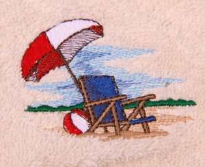 Beach Chair and Umbrella Embroidered White Bath Towels