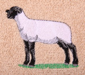 Suffolk Sheep Embroidered Beige Bath Towels