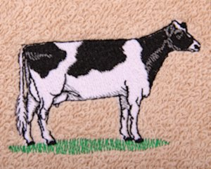 Holstein Cow Embroidered Beige Bath Towels