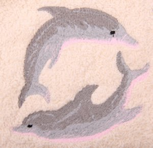 Playing Dolphins Embroidered Light Blue Bath Towels