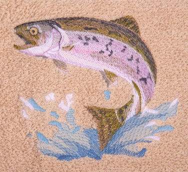 Jumping Trout Embroidered Beige Bath Towels
