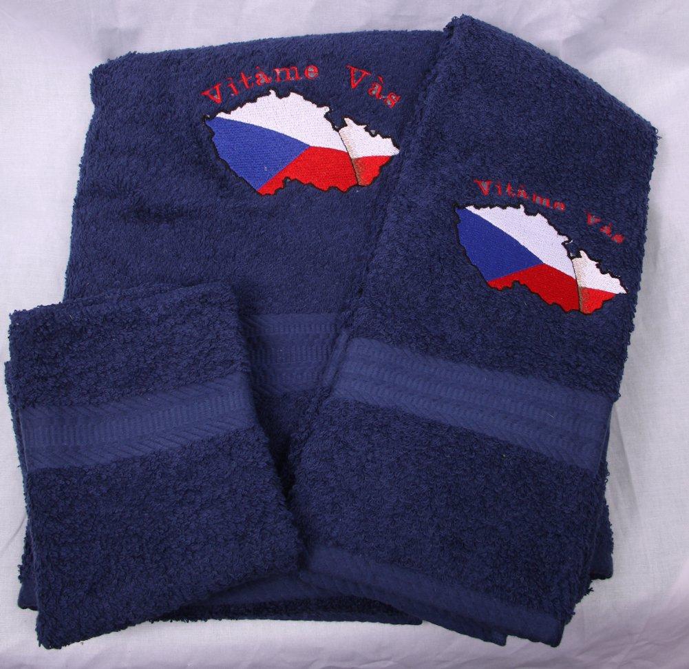 Embroidered Vitame Vas Czech Flag on Navy Wash Hand Bath Towel Set
