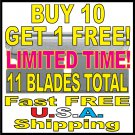 $2.95 New Single Edged Razor Blades Buy 10 Get 1 FREE #9 Utility Scraper FREE U.S. Shipping!