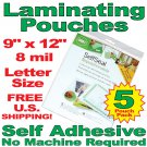 "GBC 9"" x 12"" x 8 mil 5 Sheet Pack Self Adhesive Laminating Cold Pouches Clear Gloss"