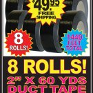 SAVE! 8 EIGHT Rolls 2&quot; x 60 Yards Black Cloth Duct Duck Tape FREE U.S. SHIPPING