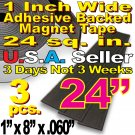 3pcs - 1in. x 8in. Magnet Tape Adhesive Magnetic Strips Craft Flat 24 sq. in.