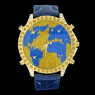 5 Time Zone World Map Blue & Canary
