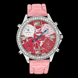 5 Time Zone Camo Iced Out Silver Pink