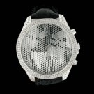 Genuine Diamond Iced Out Black Leather Watch