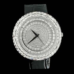 Bling Master Iced Out Baguette Orbit Black Leather Watch