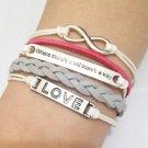 Infinity, Love Quote & Love Bracelet--Antique Silver Charm Bracelets