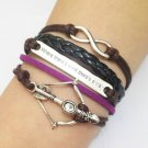 Infinity, Love & Arrow Bracelet--Antique Silver Charm Bracelets