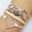 Love, Flower & Heart Charm Bracelet, Antique Silver Bracelet
