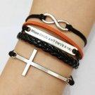 Infinity, Love & Cross Bracelet--Antique Silver Charm Bracelets