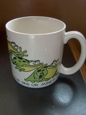 Vintage 1960 George Good Your Pad or Mine Frog Coffee Cup Message Mugs