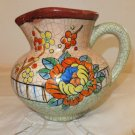 Rare Vintage Hand Painted Crackle Crackleware Art Deco Floral Pitcher Japan