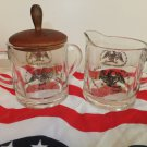 Vintage Patriotic Americana Gold Eagle with arrows Covered Sugar Bowl Creamer