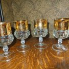 4 Vintage Kings Crown Gold Flash Indiana Glass Tiffin Goblets