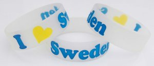 I Love Sweden - Silicone Wristband / Bracelet Swedish