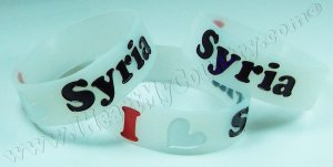 I Love Syria - Silicone Wristband / Bracelet Syrian Flag