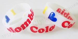 I Love Colombia - Silicone Wristband / Bracelet - Colombian Flag