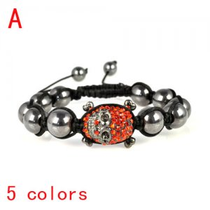 friendship skull bracelet with red rhinestones, adjustable size,br-1348a