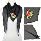 skull printing summer triangle scarf,NL-1857