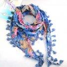 lady's flower print tassel scarves ,NL-1518B