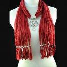 dark red tassel with heart-shaped pendant scarf,NL-1495K
