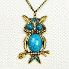 antique brass colored owl charm with turquoise stones necklace,nl-1794