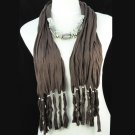 brown tassel necklace style scarf,NL-1306k