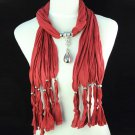 Water droplets style pendant bright red scarf,NL-1221k