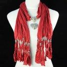 heart pendant charm red scarf,NL-1220k