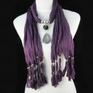 lady's purple long tassel scarf ,NL-1222C