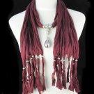jujubes red long tassel scarf ,NL-1221B