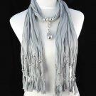 drop pendant long tassel scarf ,NL-1221A