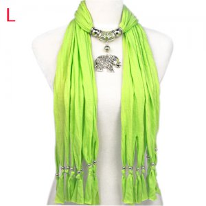 charm elephant pendant with long tassel scarf,NL-1788L