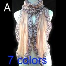 Leopard print Lace Acrylic scarf ,NL-1521