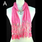 Wrinkle polyester Pendant Scarf Glass crystal Heart pendant scarf ,NL-1519