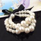 Elegant imitation pearl  bracelet black ribbon fashion jewelry woman BR-959
