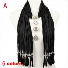 6 colors long pendant scarf charm necklace jewelry scarf, free shipping, NL-1792