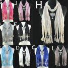 Lady 9 colors fashion jewelry heart pendant scarf new design necklace, NL-1495