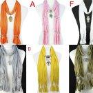 6 styles 6 pcs pendant scarf, fashion jewelry scarves wholesale lady charm shawl