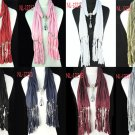 CCB Water-drop shape pendant scarf beads jewelry scarf tassels 8 colors nl-1221