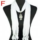 Chaste white jewelry scarf new design necklace owl pendant girl gift, NL-1618F