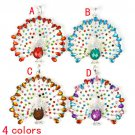 Peacock shows its tail colorful rhinestones pendant DIY necklace scarf PT-650