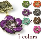Antique golden resign flower with stones scarf slide charms 7 colors lot PT-709