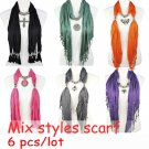 6 pcs Wholesale Mix 6 styles pendant scarf mix designs color jewelry scarf shawl